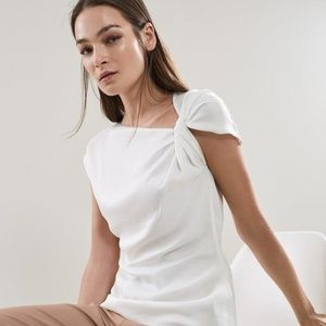 Reiss Trinny Knot Detail Cutaway White Top Blouse
